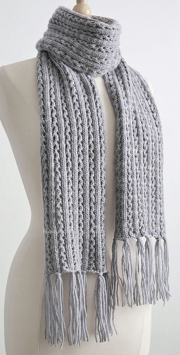 Free Knitting Pattern for 4 Row Repeat Frostlight Scarf ...