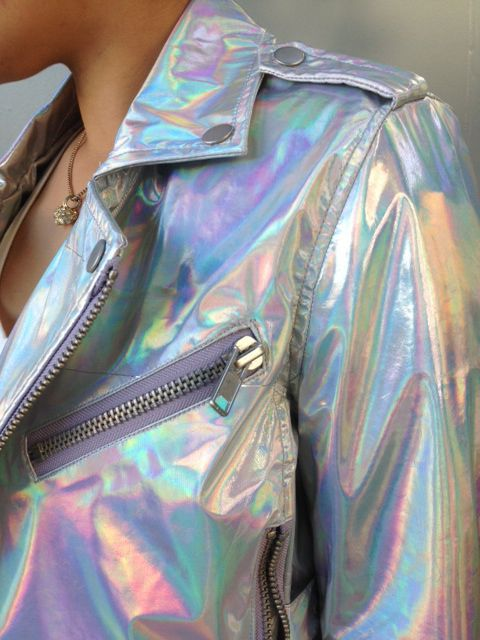 Holographic jacket with disco pants and Jeffrey Campbell Coltranes. #hologram #jacket #fallfashion
