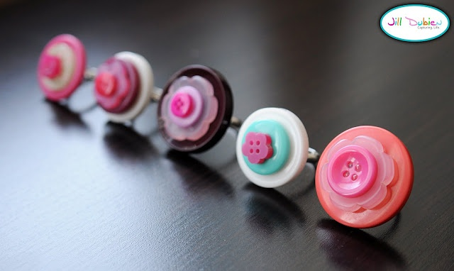 These button rings are so cute for little girls!