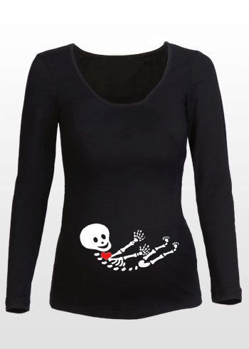 Halloween X-ray Maternity Shirt - Perfect for Halloween Costume Idea - Long Sleeve -  Black or White TShirt