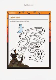 permainan anak Balita/TK, bermain labirin dengan gambar rumah hantu #PermainanAnak #balita #TK #labirin