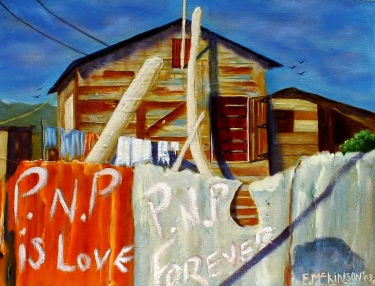 Trench Town Rock I.Shacks from the ghettos of Trench Town,Kingston,Jamaica. Oil on canvas