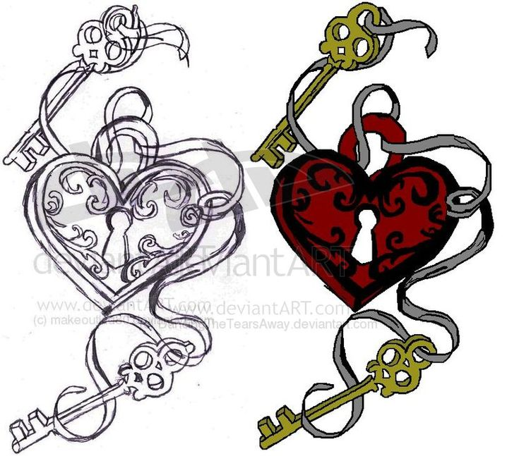 Key Heart Tattoo design by DancingTheTearsAway.deviantart.com  Not in those colors