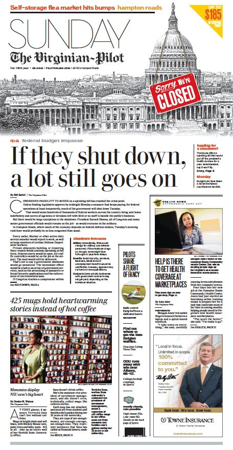 The Virginian-Pilot's front page for Sunday, Sept. 29, 2013.