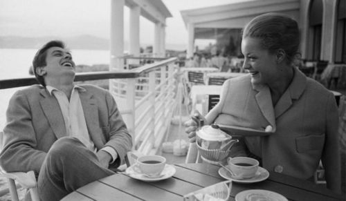 Romy Schneider and Alain Delon, breakfast on the terrace. via http://weheartit.com