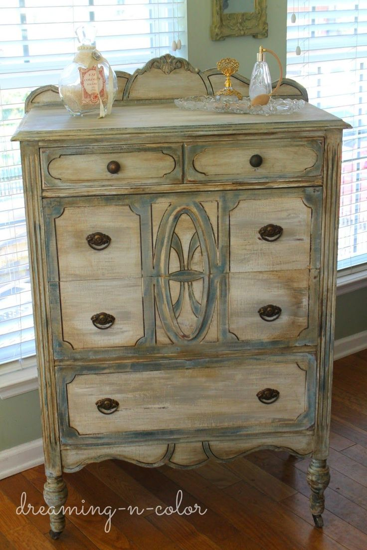 Layering chalk paint colors--dreamingincolor: Blue, Grey and White Dresser