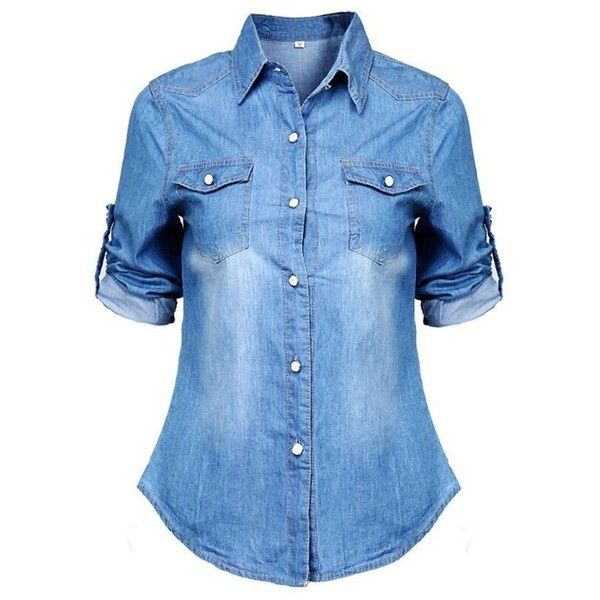 Fedi Apparel Lady Long Sleeve Button Down Shirt Denim Jean Boyfriend... ($13) ❤ liked on Polyvore featuring tops, blouses, shirt blouse, boyfriend shirt, blue button up shirt, blue button down blouse and long sleeve blouse