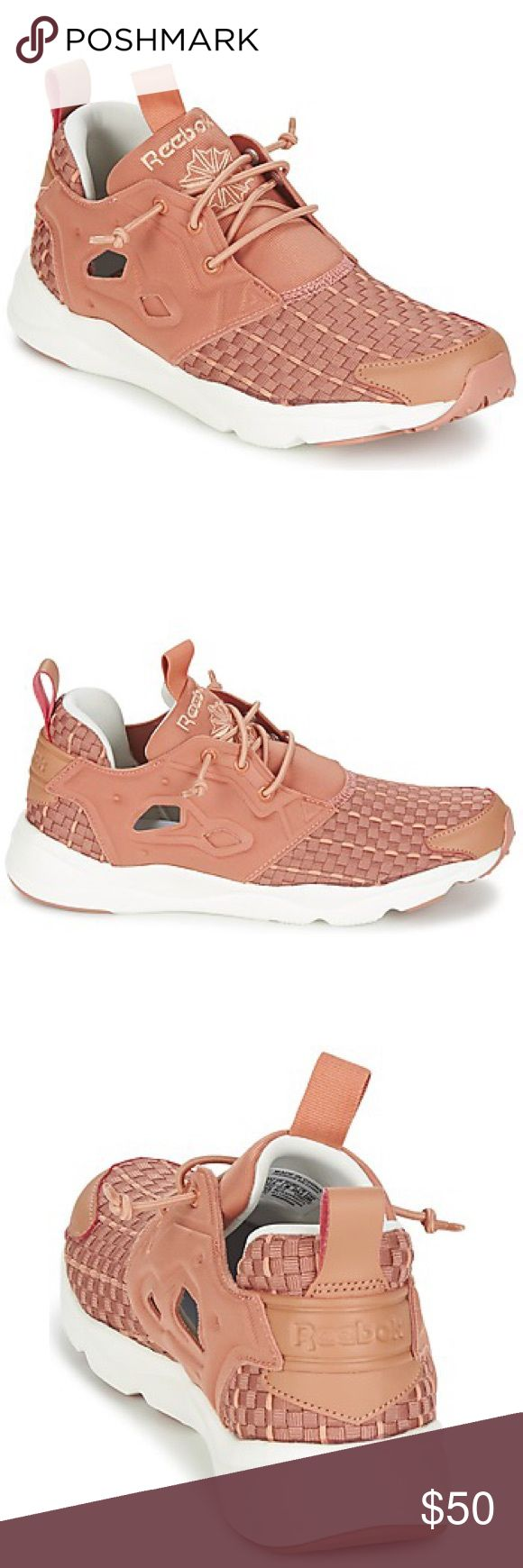 Reebok Furylite New Woven Sneakers Adorable pink sneakers from Reebok! Woven pattern and cut outs along the shoe give it a unique look. Extremely comfortable and easy to wear. Only worn twice! Reebok Shoes Sneakers