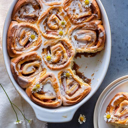 A recipe for Strawberry Studded Cinnamon Rolls with Chamomile-Vanilla Glaze.