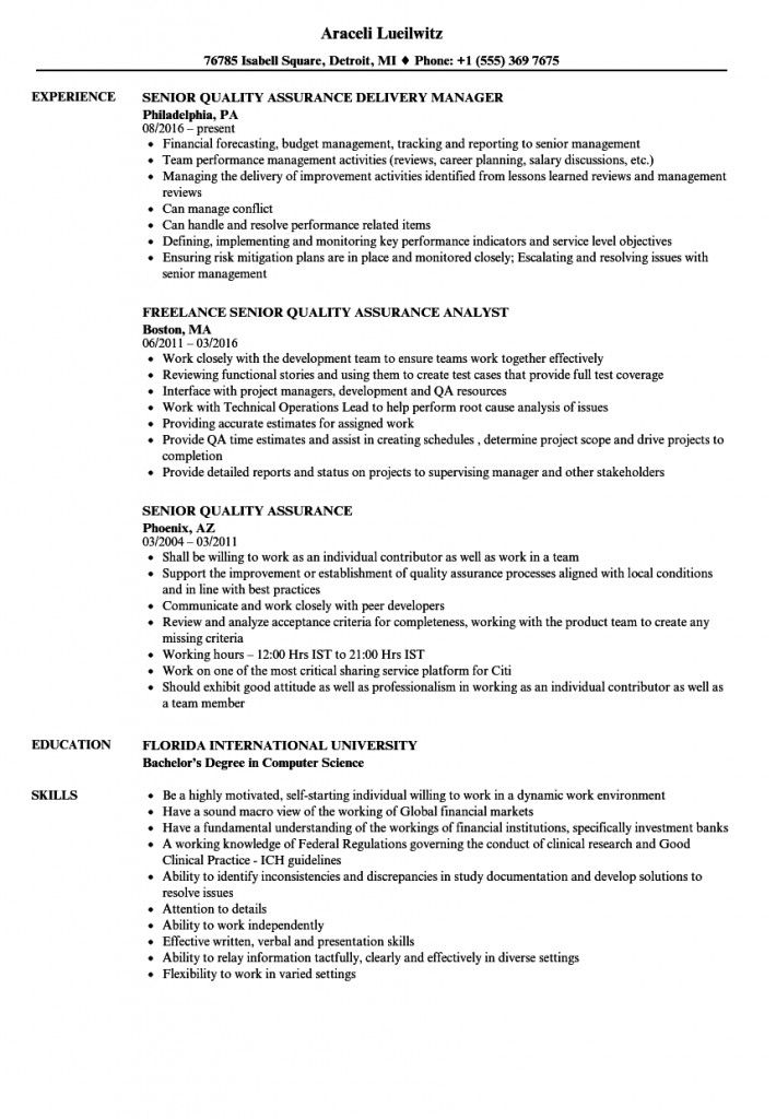 Quality Assurance Manager Resume Objective 2021 Job Description Template Resume Examples Manager Resume