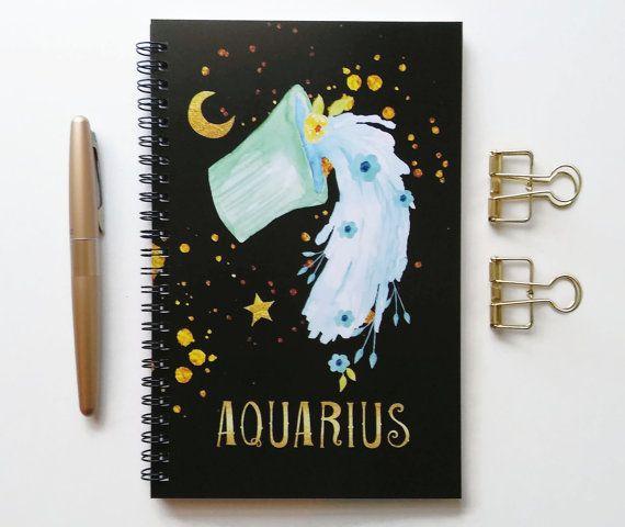 Schrijven dagboek, spiraal notebook, kogel dagboek, zwarte schetsboek, schattig notitieboekje, lege bekleed raster, sterrenbeeld, astrologie - Waterman