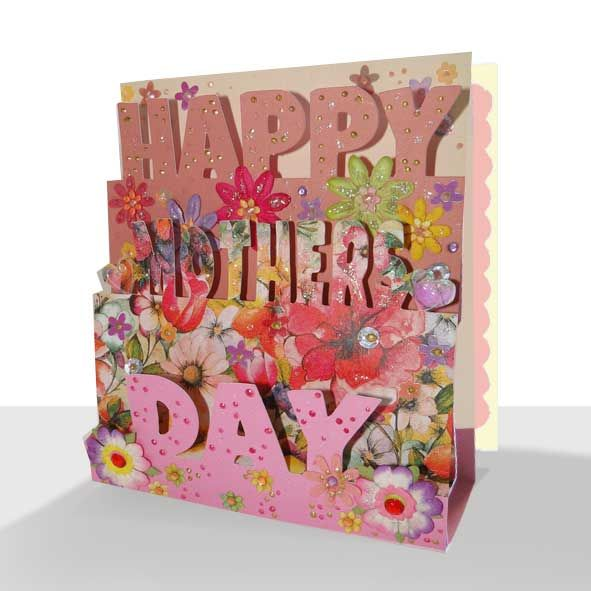 3D Mother's Day Card - Original Pop Up Floral Blush Pink, Unique Greeting Cards Online, Buy Luxury Handmade Cards, Unusual Cute Birthday Cards and Quality Christmas Cards by Paradis Terrestre