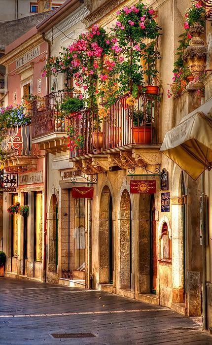 Beautiful streets, Taormina, Sicily, Italy.