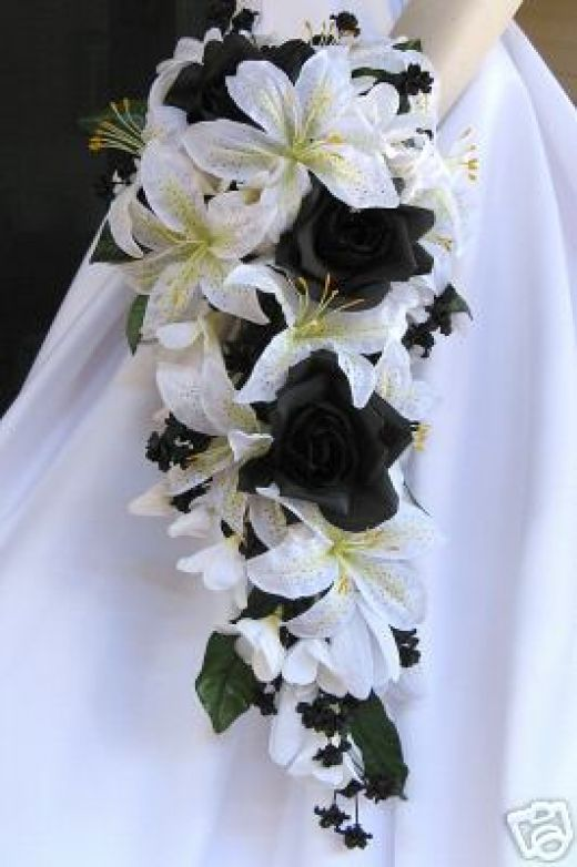 Black Orchid Silk Flower Bridal Bouquets Black And White