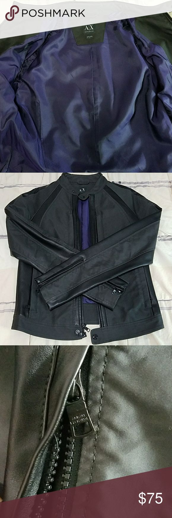 Armani Exchange Leather Jacket AX leather jacket, worn a few times since its typically hot, but the shoulder and neck leather pieces have worn over the years. Circa 2009. Ask for more pics if necessary! Armani Exchange Jackets & Coats