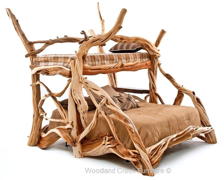 Unique Handcrafted Log Bed By Woodland Creek Twin Over