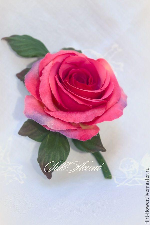Купить Брошь текстильная Роза. Цветы из шелка - фуксия, красный, красно-фиолетовый, роза