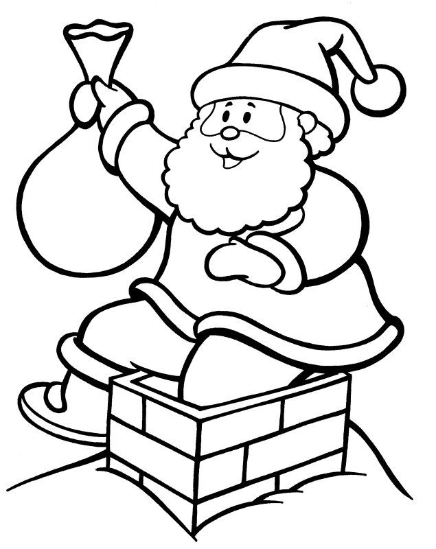 Santa Climbing Down Chimney Printable Christmas Coloring Pages