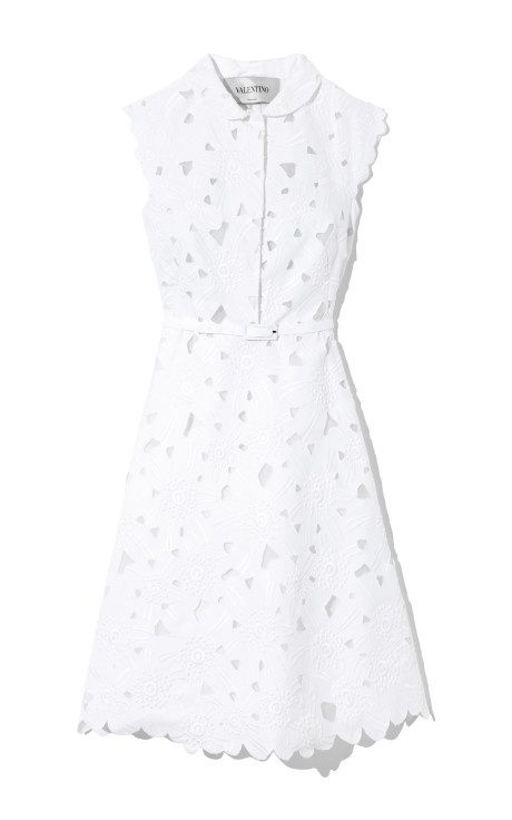 Ricamato Daisy Cap Sleeve Dress by Valentino