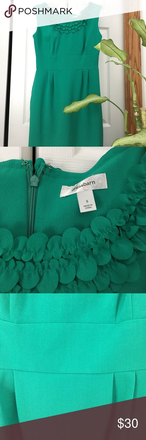Kelly green dress Beautiful Dress in Kelly green.  Pics do not show actual color.  Size 6. Polyester/Spandex blend. Dress Barn Dresses