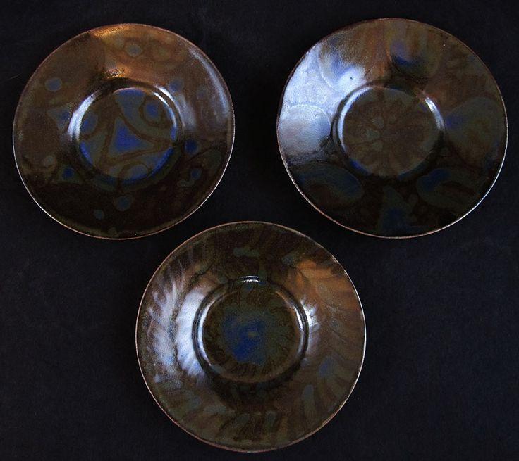 """3 blue green butter dishes, cobalt over tenmoku wax resisted. 6"""" diameter"""