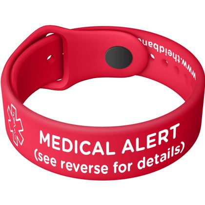 Red Medical Flatband | Silicone Medical Alert Bracelets in