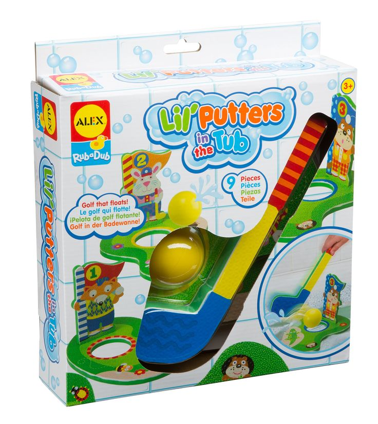 ALEX Toys Rub a Dub Bath Putters Golf in the Tub. Turn your bathtub into a golf course!. This complete set includes (3) floating golf holes, a mini golf club, (1) golf ball squirter and a suction cup mesh storage bag. Recommended for children age 3 and up.