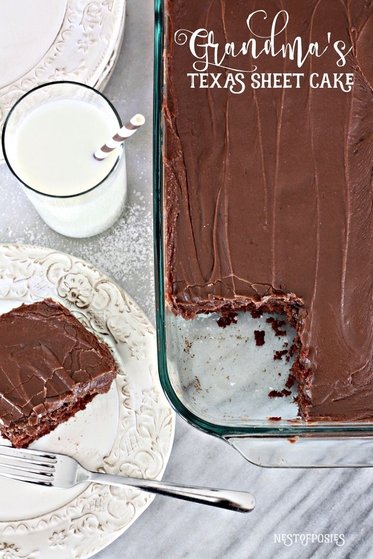 A rich & moist homemade chocolate cake & frosting, and a surprise mild spice to push it over the top! Try Grandma's Texas Sheet Cake recipe, you'll love it.