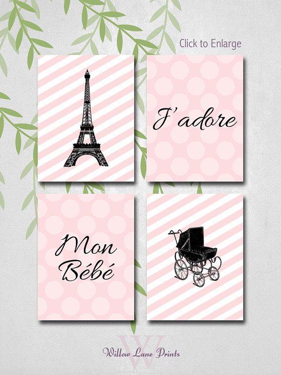 French nursery wall art - J'adore Mon Bébé - baby girls nursery decor - pink - paris nursery art - Eiffel tower - vintage baby carriage on Etsy, $35.00