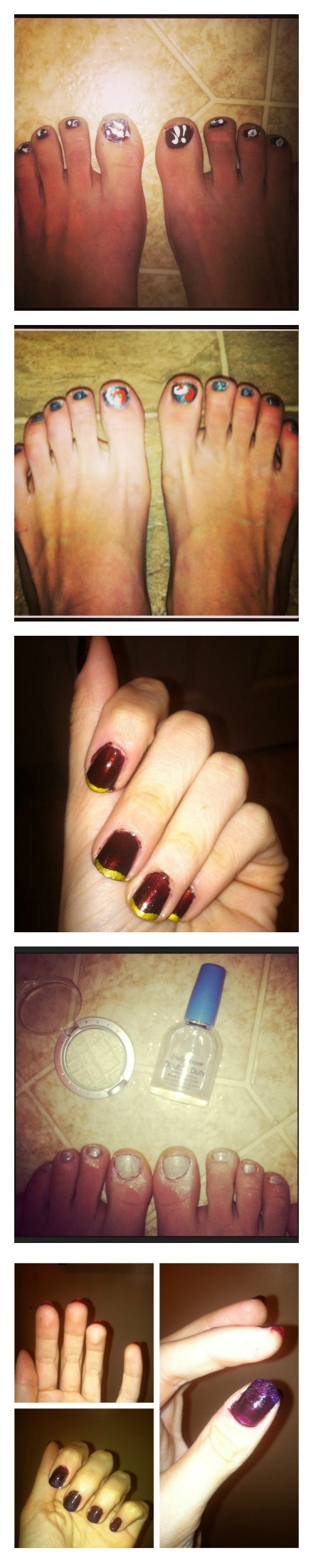 Let art inspire your nails! 1) Splatter paint Pollock style, 2) draw swirls with toothpicks like Van Gogh, 3) Use a gold sharpie to draw any designs you want [it comes off easily], 4) Make your own polish by adding eyeshadow to clear topcoat, 5) get trendy by painting the underside of nail red [Louboutin] and the top an ombre shade [sparkles make it easy]. Done!