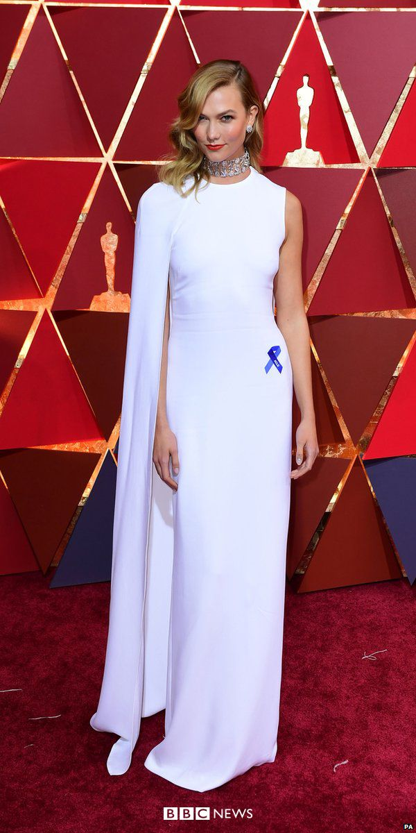Some stars at the Oscars chose to show their protest against Donald Trump's immigration ban by wearing a blue ribbon. Model Karlie Kloss wore hers on a floor length, white one-shouldered dress.