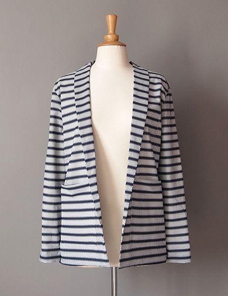 Tutoriel de la veste Michelle de République du chiffon avec col châle & poches plaquées