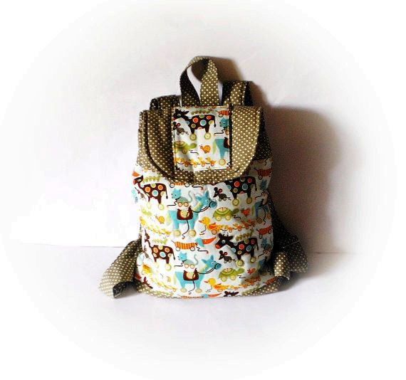 kid backpack in beige with ducks horse turtle farm by Crearts, $36.00