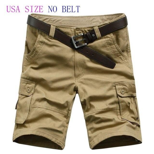 1893a6c01b Summer 2018 Military Cargo Shorts Brand New Army Men Loose Work Casual  Short Pants Plus USA Size 42 44 46 No Belt