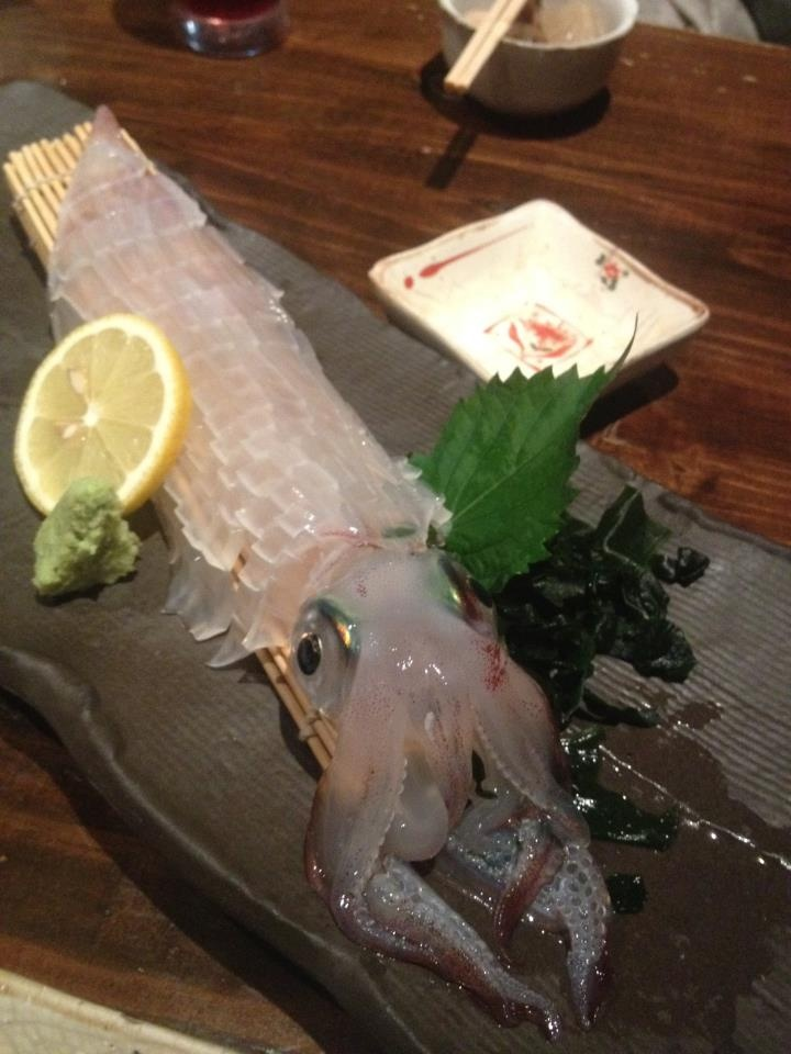 Sashimi of a whole squid. #Japan #food