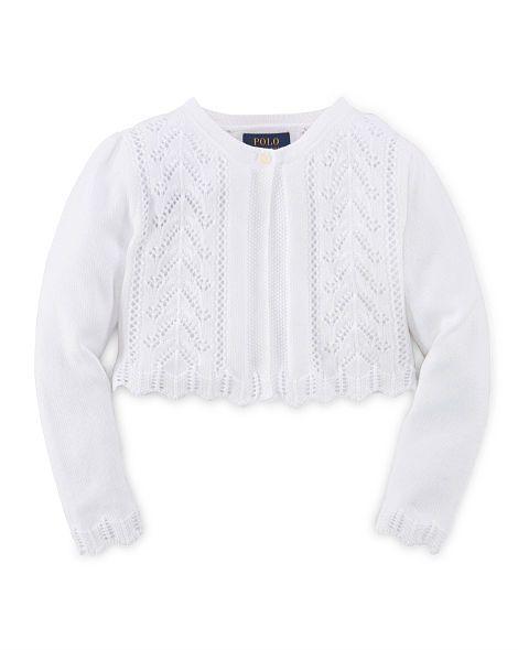 Pointelle-Knit Cotton Shrug - Girls 2-6X Sweaters - RalphLauren.com