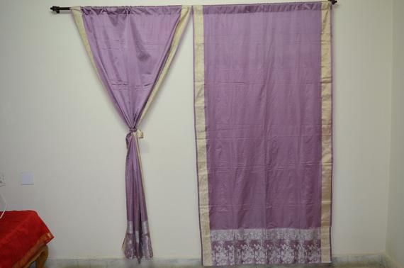 Indian curtain saree Silk curtain sare Boho curtain gypsy curtain hippy bohemian vintage curtain Ethnic wall hanging purple curtain 83″ SK77