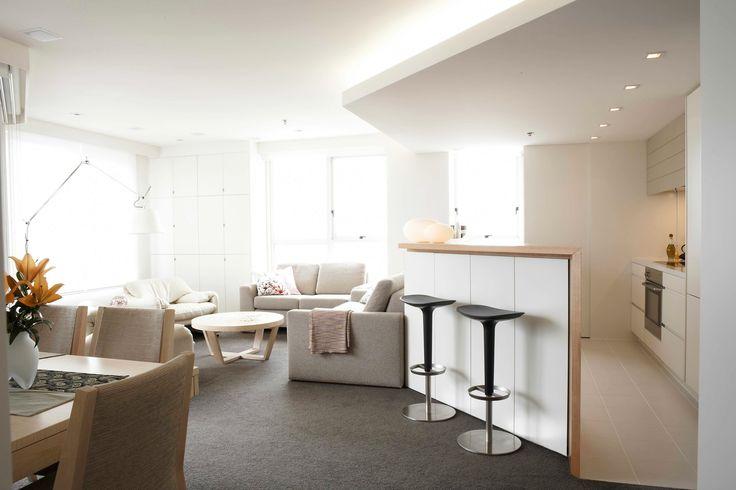 Kitchen living and dining open plan apartment living. Brooke Aitken Design.