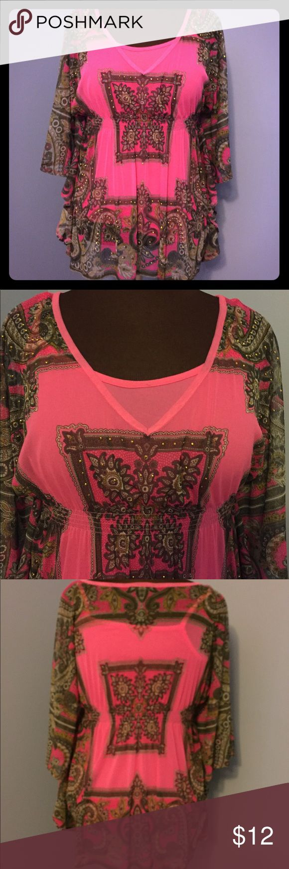 INC Batwing Tunic This shirt from INC is perfect resort wear. Wear with white jeans or white capris.  Fusia pink scarf-like material with a paisley inspired design, embellished with little gold-tone studs, bat sleeves and attached fuscia pink cami underneath.  Petite medium size. Tops Tunics