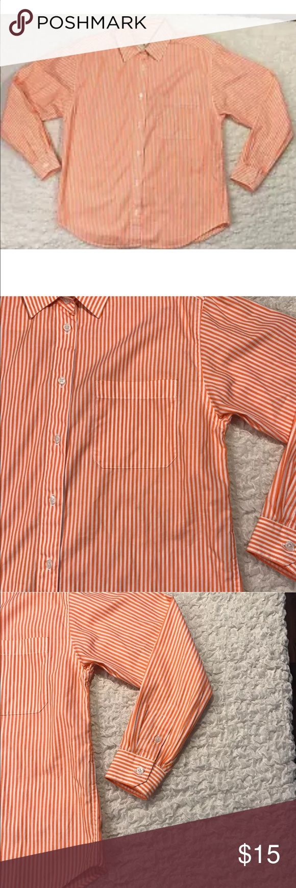 Talbots Petite Ladies PS Blouse Long Sleeve This shirt is in very Good Condition there is a tiny dot on the inside collar which will not be seen when the top is worn. Look At Photo. Orange White Striped 100% Cotton Button Down Long Sleeve Talbots  Tops Button Down Shirts
