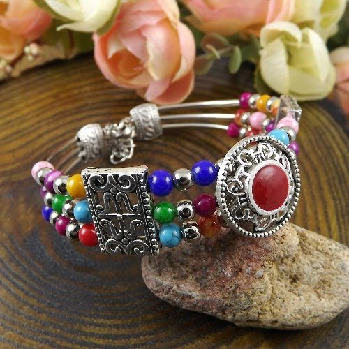 Мода Тибетский Серебряный браслет многоцветный нефрита бирюзовые бусы Браслеты и Браслеты, ювелирные Аксессуары
