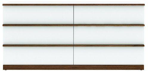 Miraseo MYHHSD108 Florian Sideboard, hochwertige Anrichte - Wohnzimmerschrank aus MDF in Farbe Weiß Hochglanz/Nussbaum, schönes Design, viel Platz und hoher Komfort für Ihr Wohnzimmer Ambiente, Maße (B x H x T) 152,2 x 73 x 49 cm