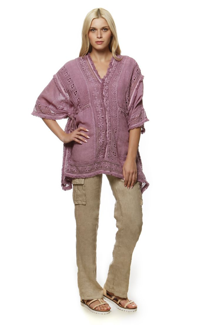 Linen Poncho with Cotton Lace 868 and Linen Pants 750 http://eshop.hariscotton.gr/