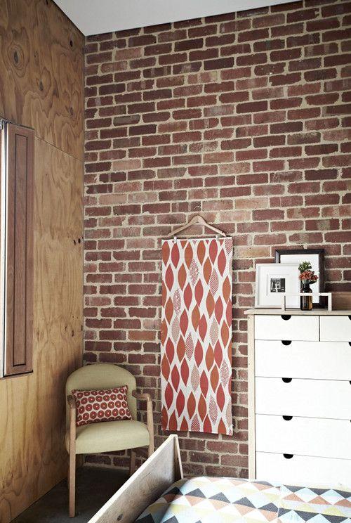 Um...hanging a fun piece of fabric from a hangar as art?  Totally!: Decor Ideas, Deco Ideas, Brick Wall, Design Ideas, Design Interiors, Wooden Hangers, Hangers Art, Fabrics Wall Hanging, Modern House