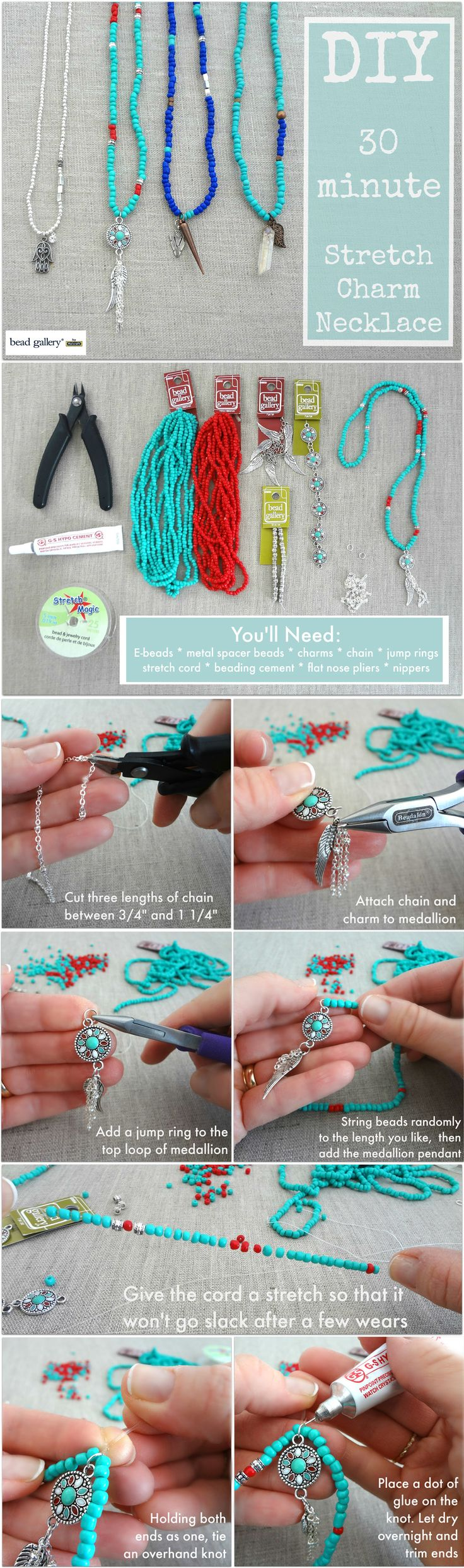 Make your own simple 30-minute charm necklace with @missmollys and Bead Gallery beads from @michaelsstores