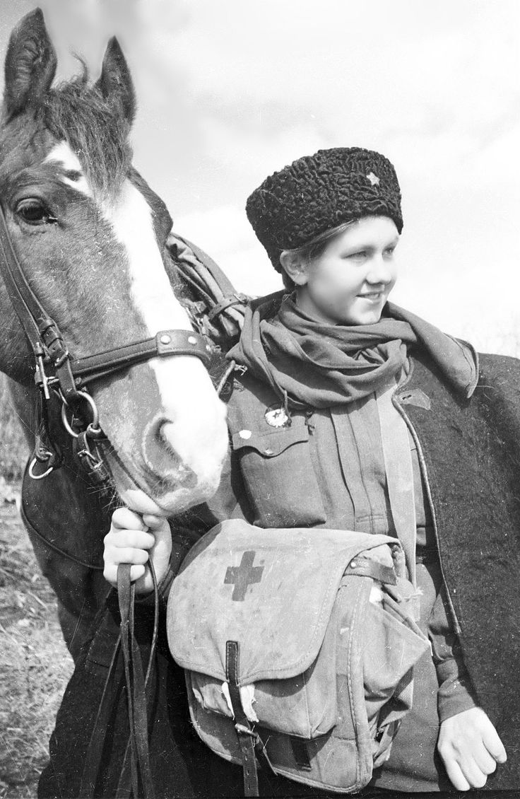 Portrait of a Soviet medical orderly of the 1st Guards Cavalry Corps during the Battle of Moscow on the Eastern Front. Near Moscow, Russia, ...
