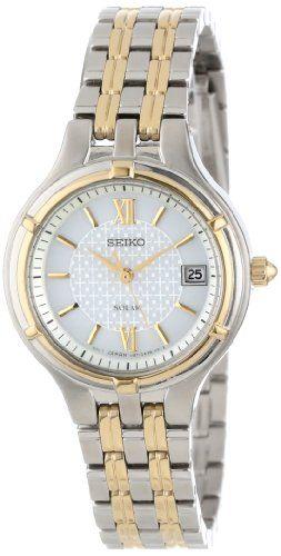 "#dresswatch Seiko Women's SUT020 ""Dress"" Two-Tone Stainless Steel Solar Watch Check https://www.carrywatches.com"