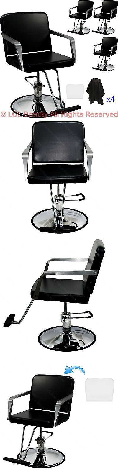 Salon Chairs and Dryers: 4X Professional Black Hydraulic Styling Barber Chair Spa Beauty Salon Equipment -> BUY IT NOW ONLY: $498.88 on eBay!