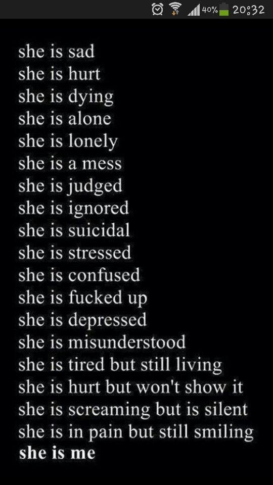 She's not fine... even tho she puts on a face it means either she is happy or trying to hide it all to protect the ones she loves... thats what i did and still am doing...