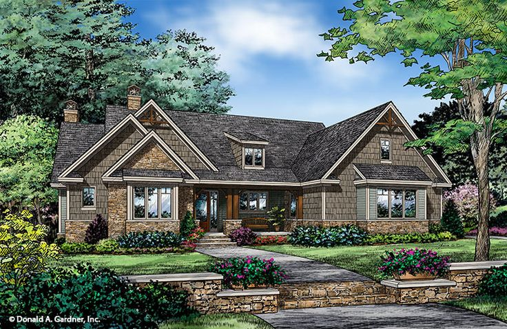 Plan of the Week under 2500 sq ft - The Ferris 1405. This Craftsman ranch house plan lives much larger than its square footage. #WeDesignDreams